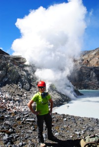 Working in the summit crater of Poás Volcano, Costa Rica