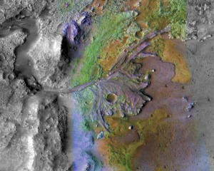 CRISM image of Jezero crater showing variations in mineralogy represented as different colors. (image credit: NASA/JPL/JHUAPL/MSSS/Brown University)