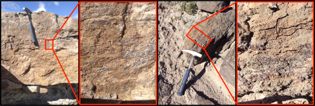 Left: The less distinct SWAMM outcrop as imaged by the walkabout team - interpreted as fractures/fracture fill; Right: The characteristic SWAMM unit in a float block, first recognized as a potential biosignature by the linear traverse team.